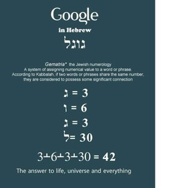 Google in Hebrew 9.11.1 Gematria• the Jewish numerology A system Of assigning numerical value to a word or phrase. Acc.ording to Kabbalah, if two words or phrases share the same number, they are considered to possess some significant connection 30 42 The answer to life, universe and everything