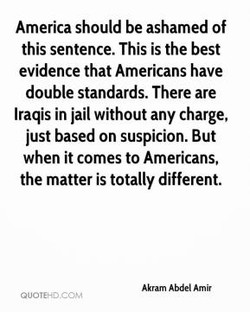America should be ashamed of 