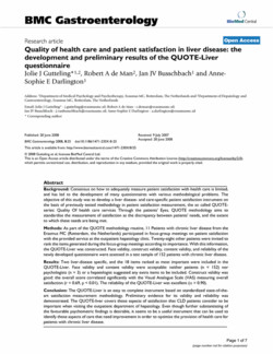 Quality Of health care and patient satisfaction in liver disease: the 