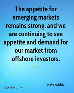 The appetite for 