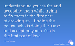 understanding your faults and 