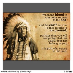 When the blood in your veins returns to the sea,' and the earth in your bones returns to the ground, perhaps then you will rem mber that this fand does not belong to you, it is you who belong to this lard. Zazzle Native American 03 by tracisingh
