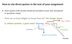 How to cite direct quotes in the text of your assignment