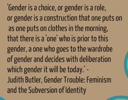 'Gender is a choice, or gender is a role, 