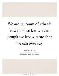 We are ignorant of what it 