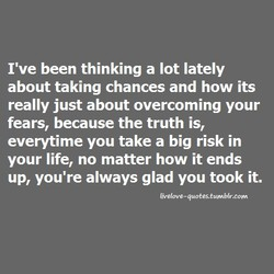 I've been thinking a lot lately 