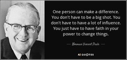 One person can make a difference. 