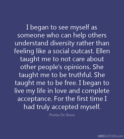I began to see myself as 