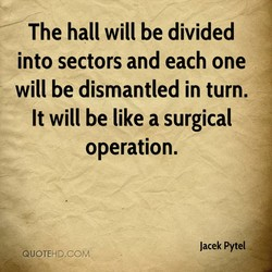 The hall will be divided 