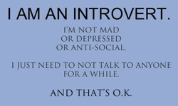 I AM AN INTROVERT. I'M NOT MAD OR DEPRESSED OR ANTI-SOCIAL. I JUST NEED TO NOT TALK TO ANYONE FORA WHILE. AND THAT'S O.K