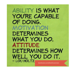 ABILITY IS WHAT YOU'RE CAPABLE OF DOING. MOTIVATION DETERMINES WHAT YOU DO. ATTITUDE DETERMINES HOW WELL YOU DO IT. - LOU HOLTZ facebook.com/fitwithcarmen