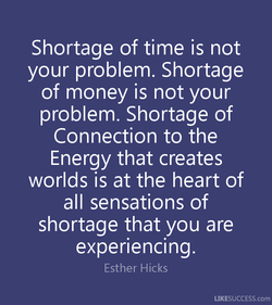 Shortage of time is not 