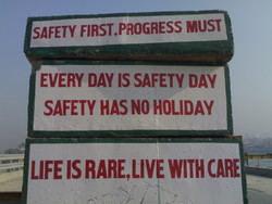 SAFETY FIRST,PROGRESS MUST 