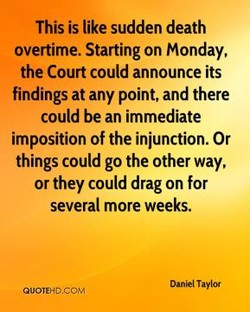 This is like sudden death 