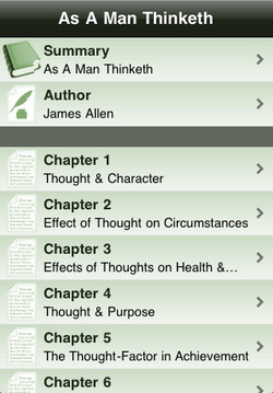 As A Man Thinketh Summary A Man Thinketh Author James Allen Chapter 1 Thought & Character Chapter 2 Effect of Thought on Circumstances Chapter 3 Effects of Thoughts on Health &... Chapter 4 Thought & Purpose Chapter 5 The Thought-Factor in Achievement Chapter 6