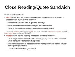 Close Reading/Quote Sandwich 
