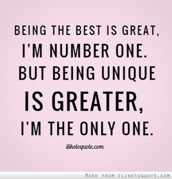 BEING THE BEST IS GREAT, 