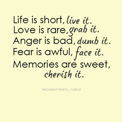 Life is short, live it. Love is rare,gpab it. Anger is bad, duncb it. Fear is awful, face it. are chepi$h it. MARIANNE PIMENTEL