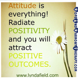 Attitude eve r Y t h i n g ! Radiate POSITIVITY and you will attract OSITIVE Il UTCOMES. www.lvndafield.com