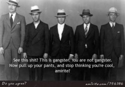 See this shit? This is gangster. You are no gangster. 