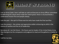 I am an Army Cadet. Soon I will take an oath and become an Army Officer committed 