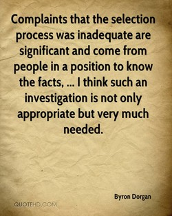 Complaints that the selection 