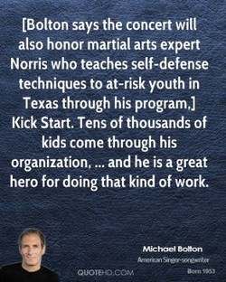 (Bolton says the concert will 