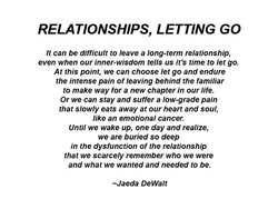 RELATIONSHIPS, LETTING GO 