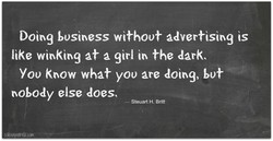 Doirxg business without advertising is 
