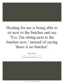Healing for me is being able to sit next to the butcher and say 'Yes, I'm sitting next to the butcher now,' instead of saying 'there is no butcher'. Tori Amos PICTURE QUOTES. PICTUREQIJ•TES