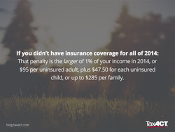 If you didn't have insurance coverage for all of 2014: 