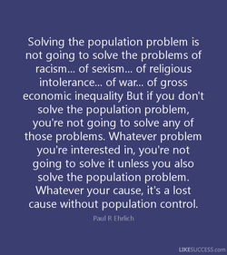 Solving the population problem is 