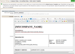 System Setup > Company Setup > Accounting Setup > Sales Quote Template 