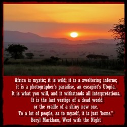 Africa is mystic; it is wild; it is a sweltering inferno; 