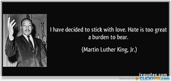 I have decided to stick with love. Hate is too great 