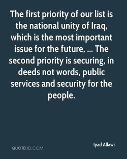 The first priority of our list is 