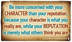 Be more concemed with your 
