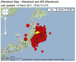 Aftershock Map - Mainshock and 405 Aftershocks 