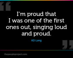 I'm proud that 