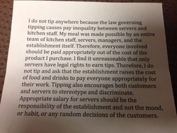I do not tip anywhere because the law governing 