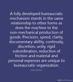 A fully developed bureaucratic 