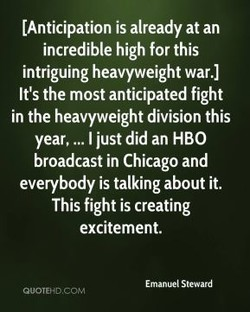 (Anticipation is already at an 