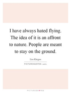 I have always hated flying. 