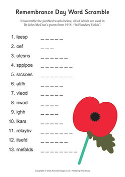 Remembrance Day Word Scramble 
