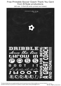 Free Printable Soccer Coach Thank You Card 