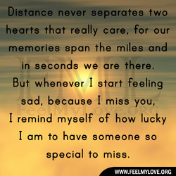 Distance never separates two 