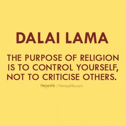 DALAI LAMA THE PURPOSE OF RELIGION IS TO CONTROL YOURSELF, NOT TO CRITICISE OTHERS. HemesHe I MemesMe com