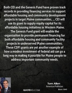Both CEI and the Genesis Fund have proven track 