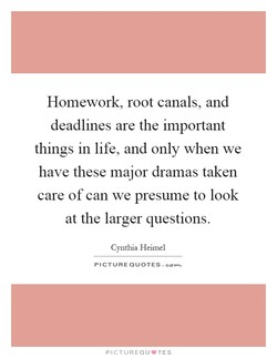 Homework, root canals, and 