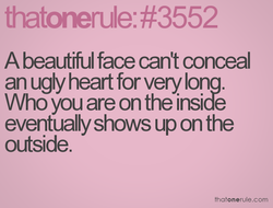 A beautiful face can't conceal 